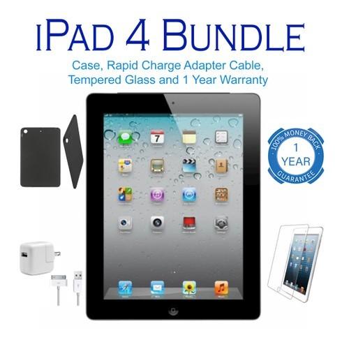 Apple iPad 4 WiFi Black Bundle (Case, Charger, Screen, 1YR Warranty)