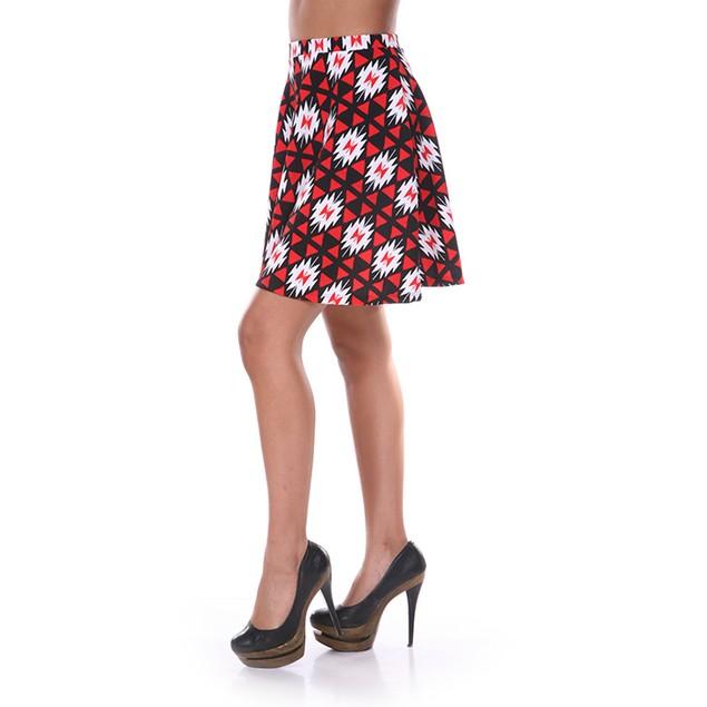 Red & Black Diamond Print Skater Skirt