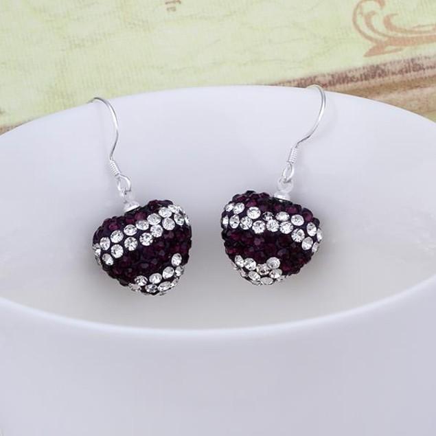 Austrian Stone Pave Heart Drop Earrings - Onyx