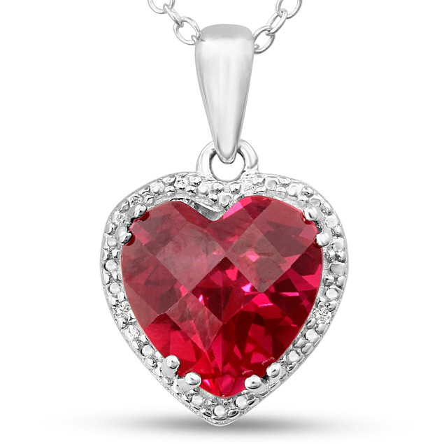 Created Ruby and Diamond Heart Necklace