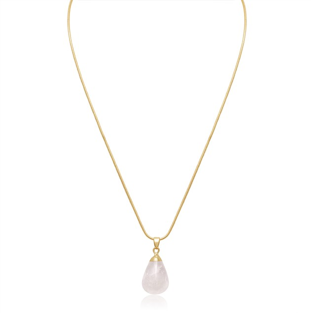 10ct Pear-Cut Clear Quartz Necklace, 18 Inches