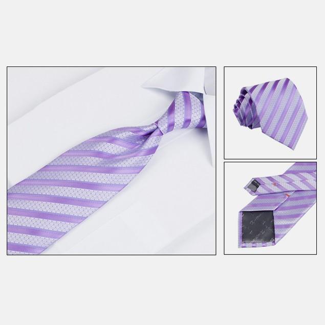 Mens Dress Suit Tie Set - Lavender Stripe