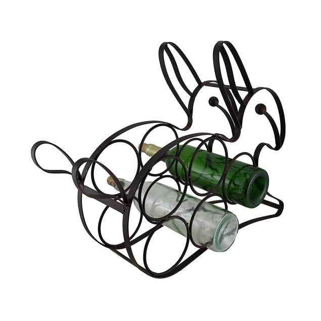 Black Enamel Coated Bunny Rabbit 5 Bottle Metal Wine Racks