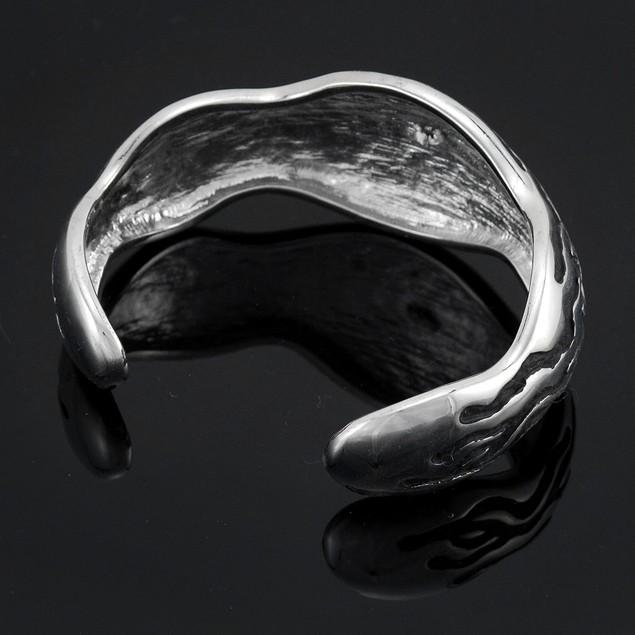 Rhodium / Enamel Zebra Stripe Cuff Bracelet Womens Cuff Bracelets