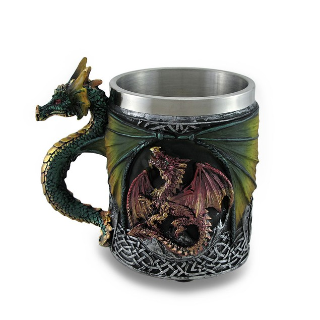 Gothic Dragon Tankard Celtic Knot Work Mug Novelty Coffee Mugs