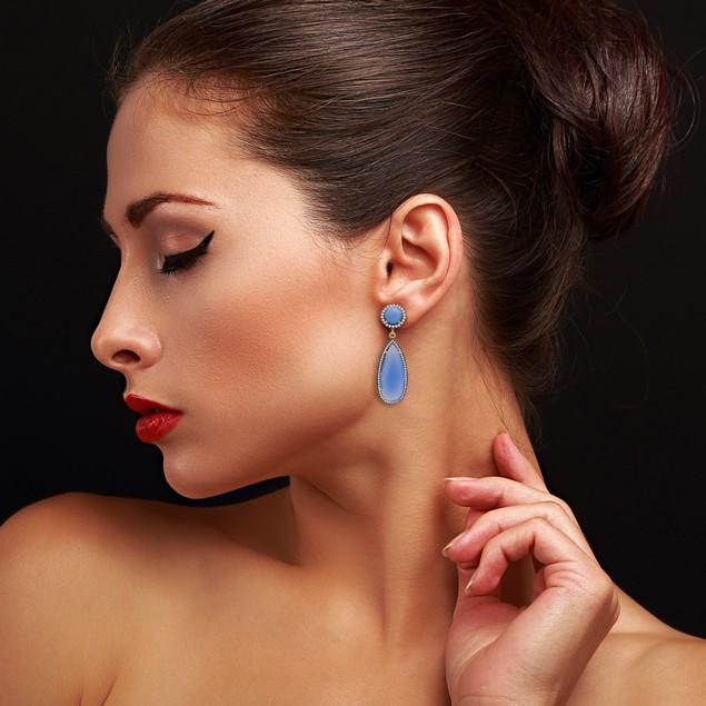 14k Gold 64ct Pear Shape Blue Chalcedony and CZ Halo Dangle Earrings
