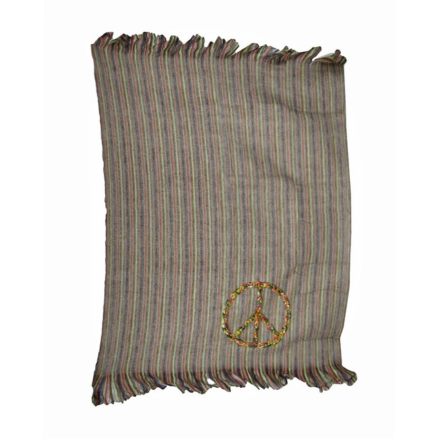 Colorful Shiraleah Peace Sign Striped Throw Throw Blankets