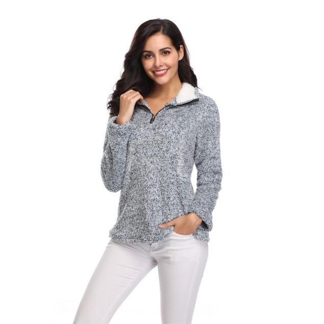 Zip Up Top Fleece Pullover - 4 Colors