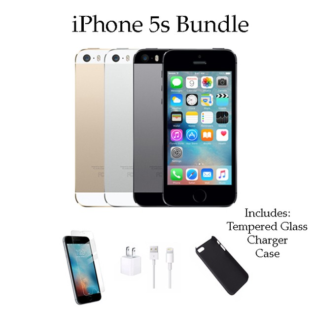 iPhone 5S 16GB Factory Unlocked Bundle (Charger, Tempered Glass, Case)