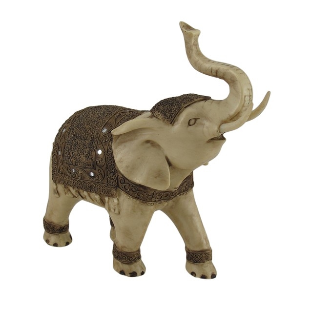 Antique White Finish Decorated Elephant Statue Statues