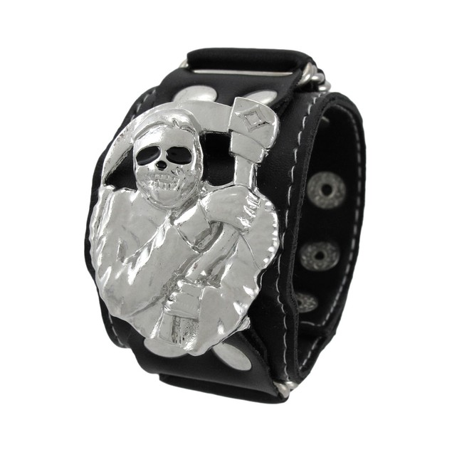 Black Vinyl Grim Reaper Wristband With Black Eyes Mens Cuff Bracelets
