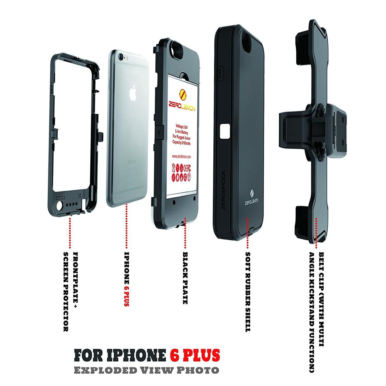 quality design a0efc 8aa50 ZeroLemon 9000mAh ZeroShock Double Layer Hybrid Case for iPhone 6/6s ...