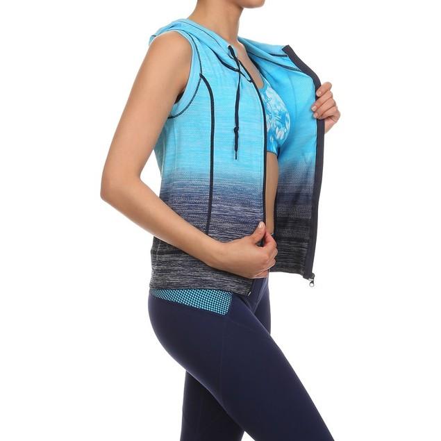 Women's Ombre Moisture Wicking Zip up Hooded Vest