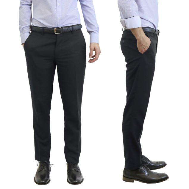 Men's Harvic Belted Slim Fit Dress Pants