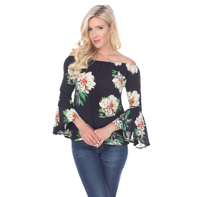 White Mark Universal Printed Smocked Neckline Top - 4 Colors