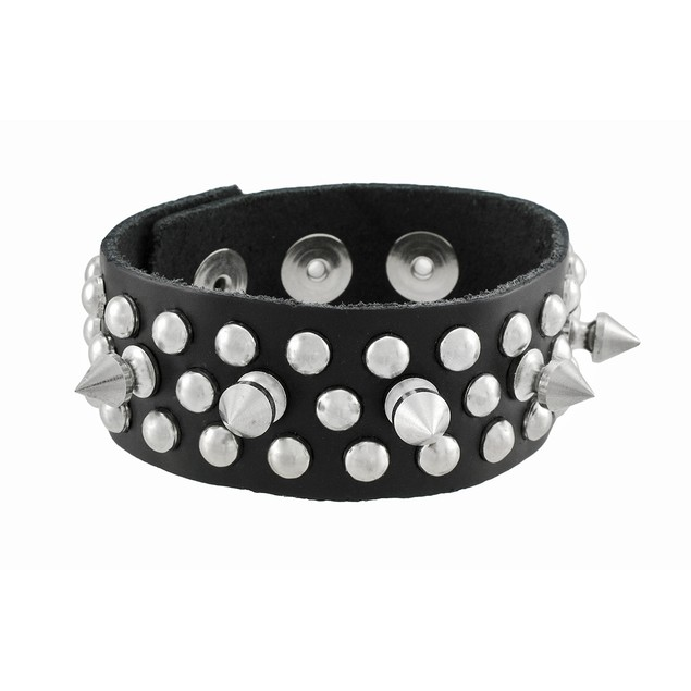 Black Spiked Leather Wristband With Chrome Pearl Mens Leather Bracelets