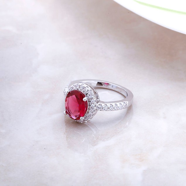 Genuine Ruby Crystal Ladies Ring