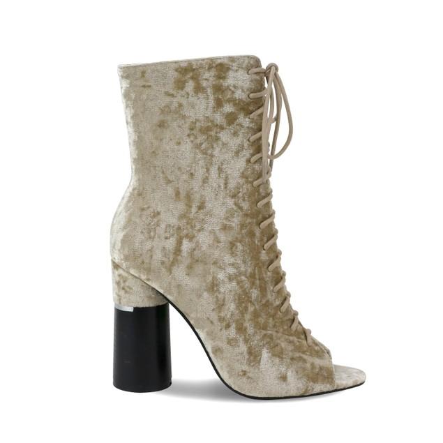 Olivia Miller 'Elmont' Peep Toe Laced Circle Heeled Ankle Booties