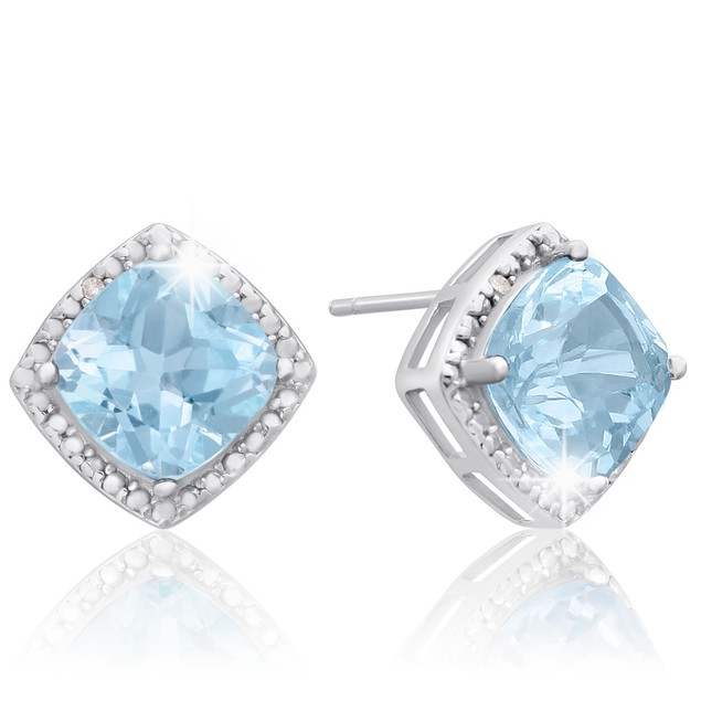 Sterling Silver 3 3/4 Carat Cushion Cut Blue Topaz and Diamond Earrings