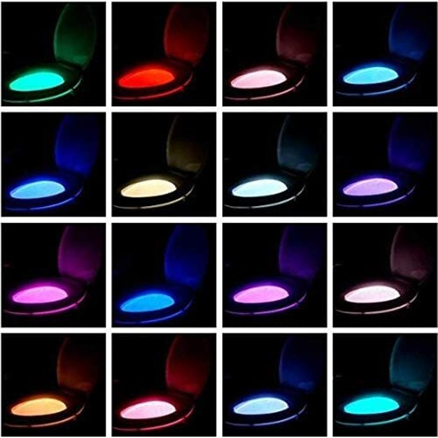 Toilet Night Lights,16-Color Motion Activated Detection Bowl Light,