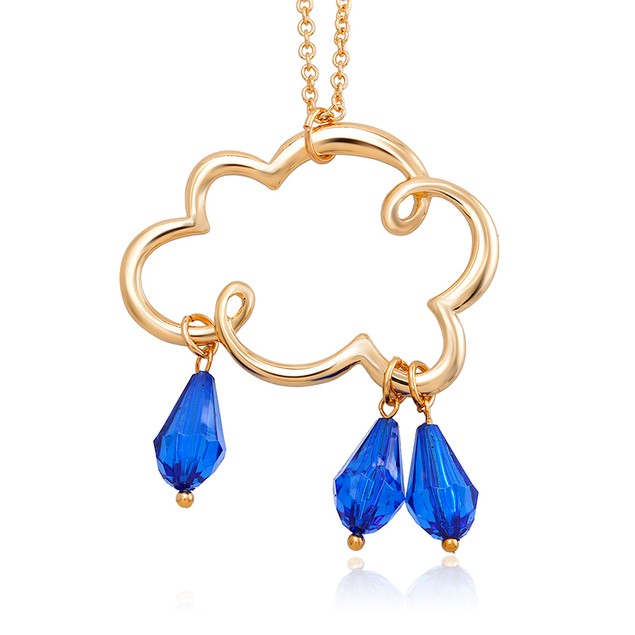 18kt Yellow Gold Crystal Rain Cloud Necklace