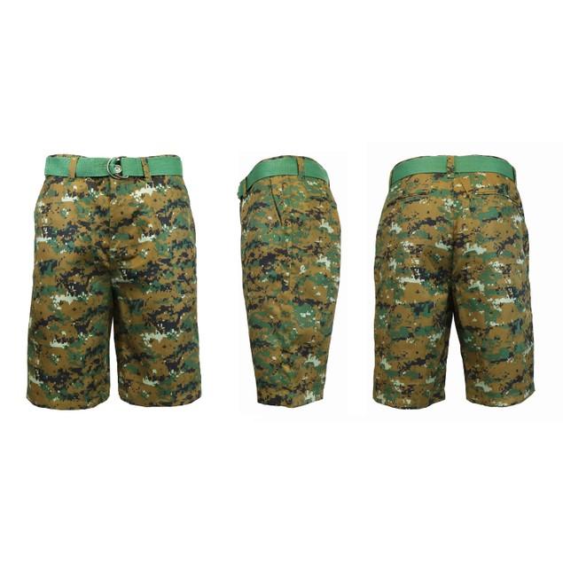Men's Flat-Front Slim-Fit Belted Camouflage Shorts