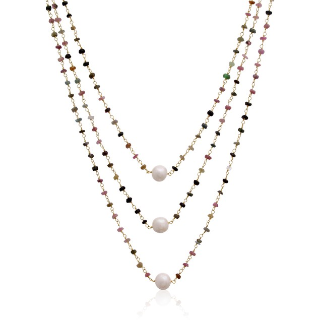 14k Yellow Gold 41ct Pink Tourmaline & Pearl Triple Strand Necklace