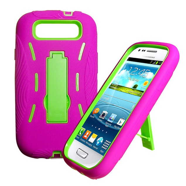 Rugged Dual Layer Impact Absorbing Kickstand Case for Galaxy S3