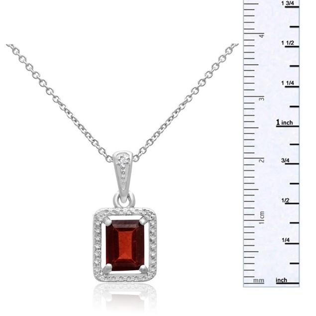 Emerald Shape Garnet and Halo Diamond Necklace