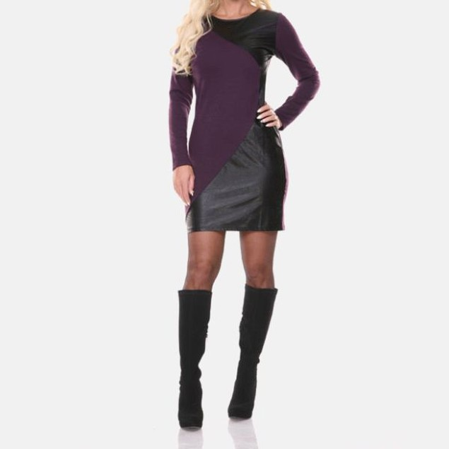 White Mark Veronica Eggplant Edgy Panel Dress