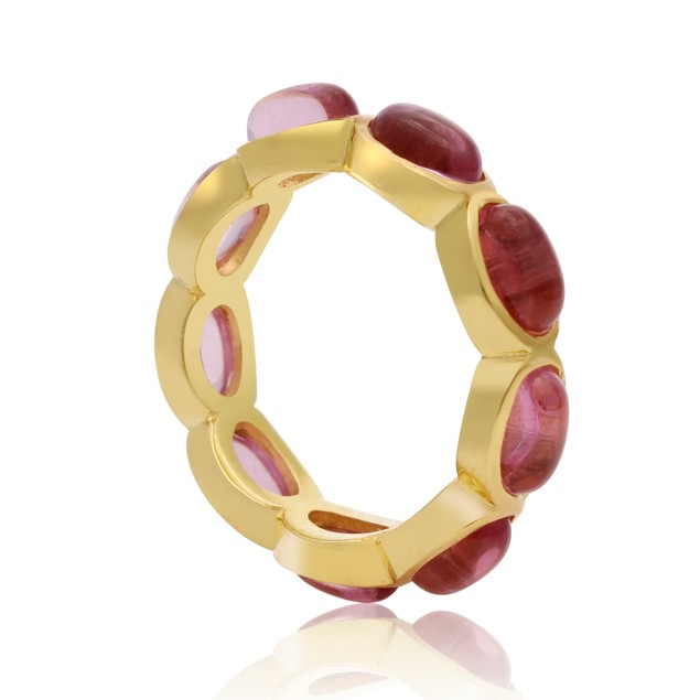 14k Yellow Gold 10ct Raspberry Quartz Eternity Ring