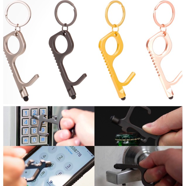 8-Pack Touch-Free Door Opener Multi Purpose Keychain with Bottle Opener