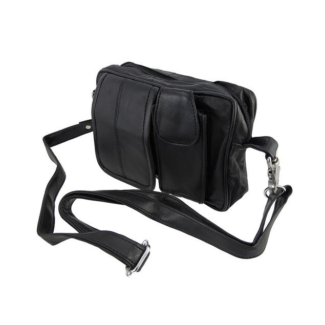 Black Nappa Leather Biker Ride Bag Belt Loop Purse Womens Ride Bags