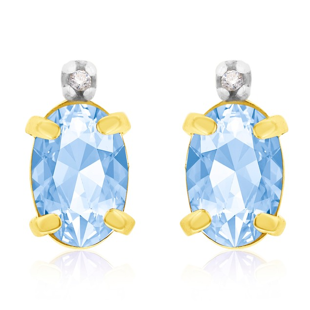 1 1/4ct Oval Blue Topaz and Diamond Earrings in 14k Gold