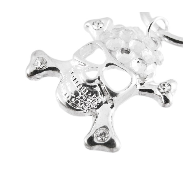 Chrome Link Toggle Bracelet - Dangling Skull Womens Chain Bracelets