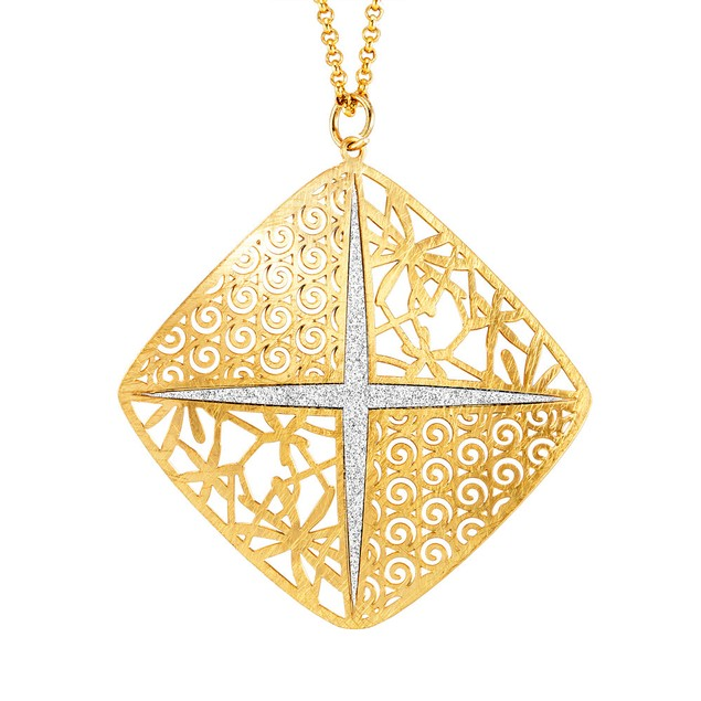 Gold Plated Sterling Silver Glitter Necklace -  Diamond