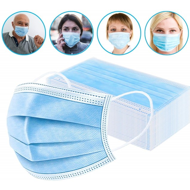 10/50/100-Pack 3-Ply Disposable FDA/CE Approved Sanitary Earloop Face Mask