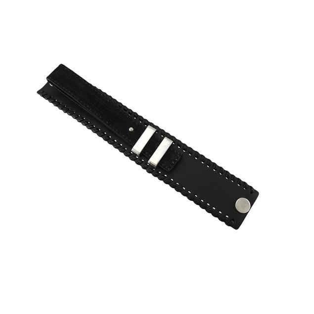 Black Leather Buckle Strap Wristband Chrome Mens Leather Bracelets