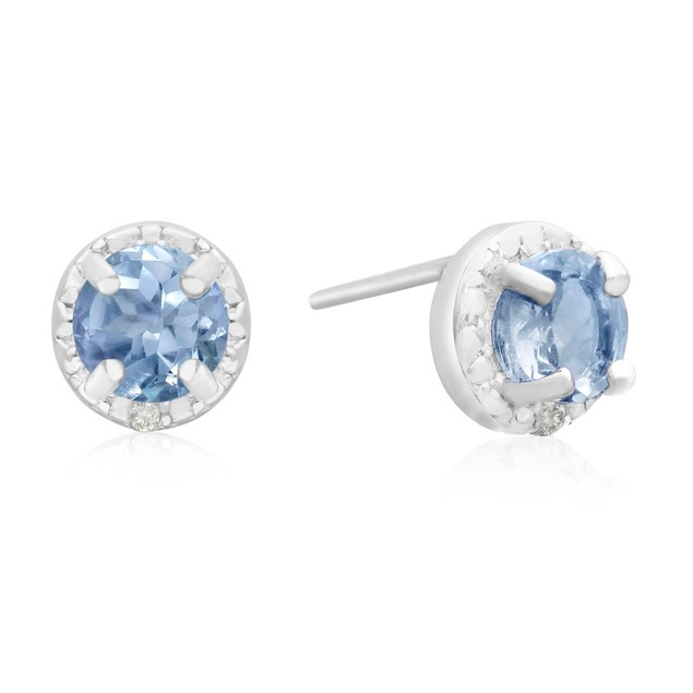 1 Carat Blue Topaz and Halo Diamond Stud Earrings In Sterling Silver