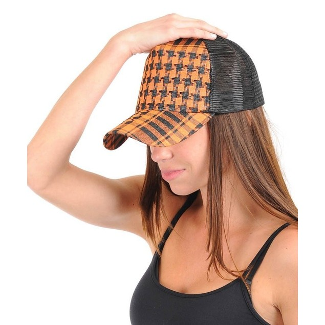 Women's Orange Trucker Cap Adjustable Snapback New