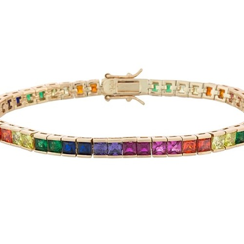 Princess Cut Colorful Classic Tennis Bracelet