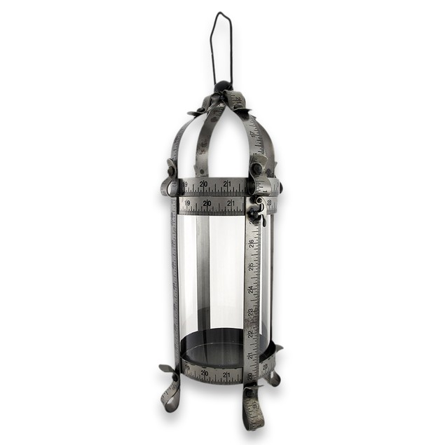 Tape Measure Tabletop Pillar Candle Lantern 16 In. Decorative Candle