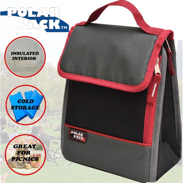 Polar Pack  Insulated Lunch Tote Bag Cooler w/ Zipper Pocket & Handle