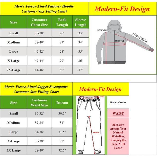Men's Fleece-Lined Hoodie & Jogger 2-Piece Sets With Color Block Design