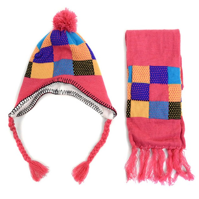 Kid's Winter Knitted Ear Flap Lined Pom Beanie Scarf with Tassel & Hat Set