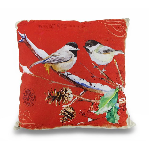 Winter Finches Holly Leaf 16In. Decorative Throw Throw Pillows