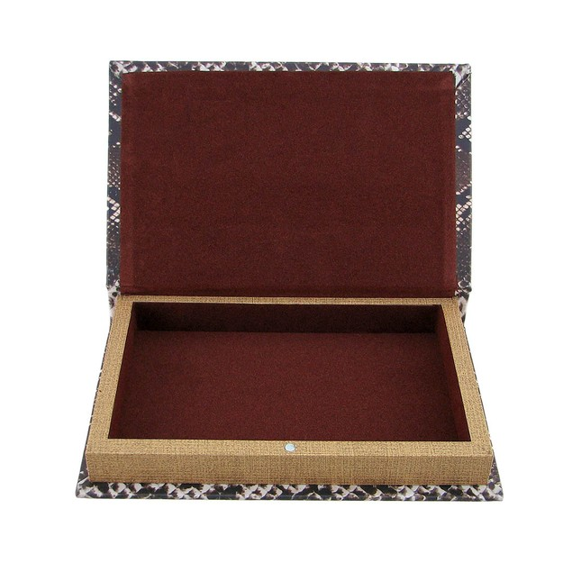 Snake Print Faux Leather Book Secret Stash Box Decorative Boxes