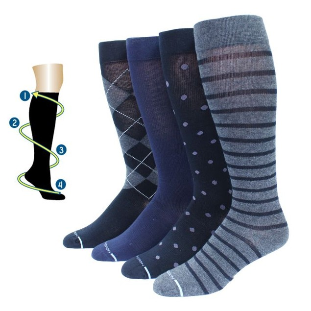 4 Pairs: Men's Dr. Motion Graduated Compression Knee High Socks