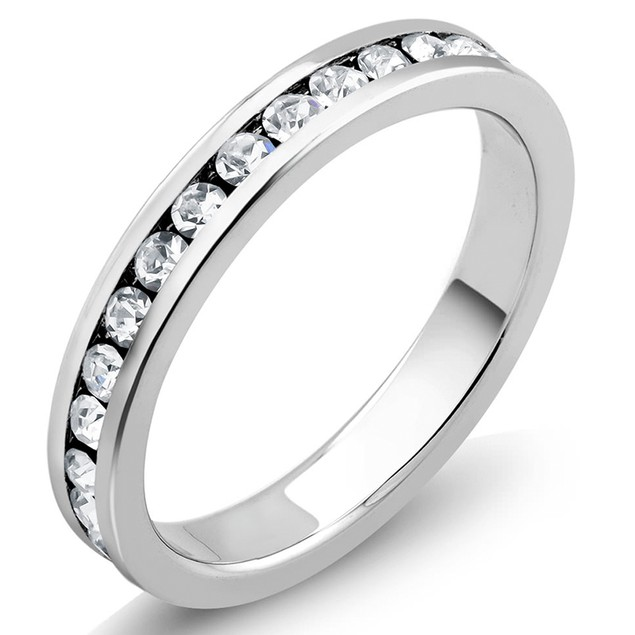 White Gold Plated Cubic Zirconia Eternity Band Ring