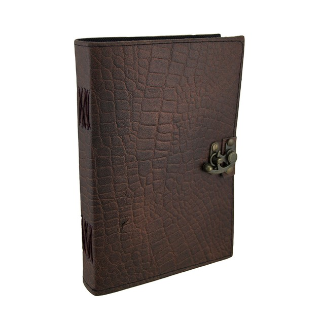 Brown Python Embossed Leather Journal 7X10 In. Art Sketchbooks And